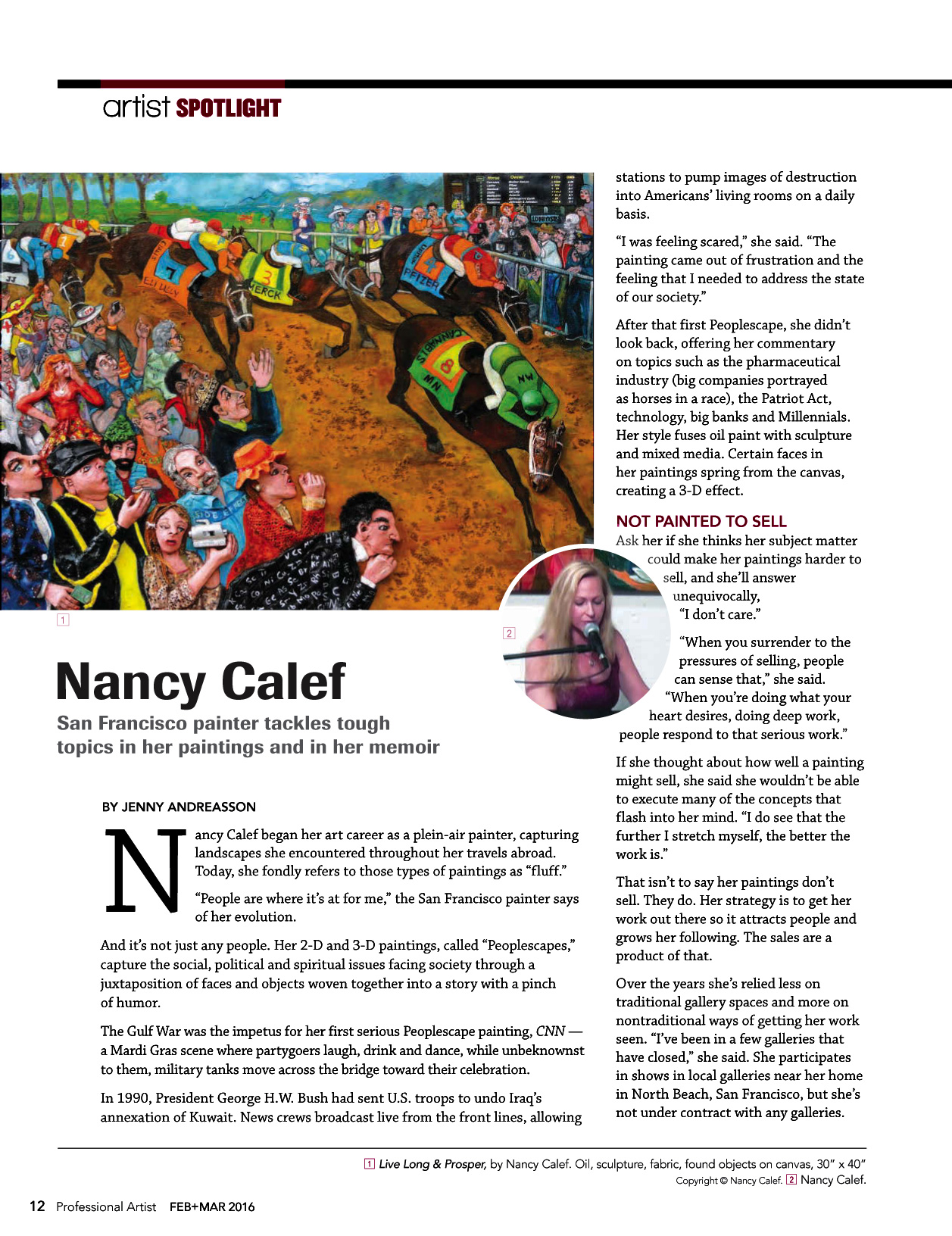 Nancy Calef Professional Artist Mag Feb/March 2016